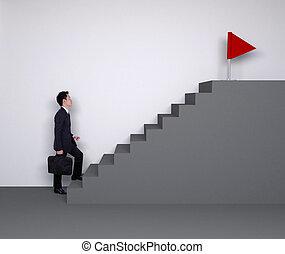 success), business, haut, drapeau, marcher, homme, escalier, rouges, (business