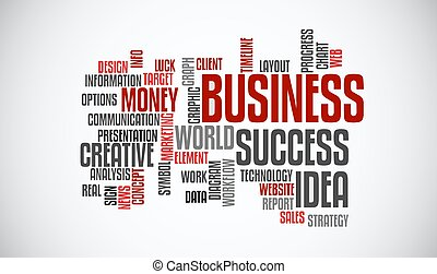 Success business idea marketing word cloud concept. Typography