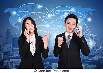 success business man and woman talking on smartphone