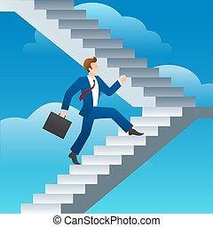 Success business man stairs run