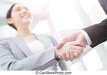 success business people shake hands - Group of success...