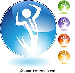 Success Businessman Crystal Icon