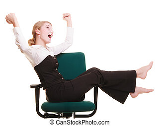 Success in business work. Young businesswoman happy girl celebrating promotion in her job isolated on white.