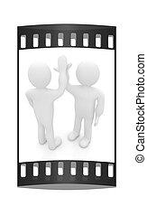 success., celebrare, fra, -, isolato, emozioni, due, series:, persone, cinque, white., umano, striscia, uomo, film, 3d
