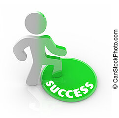 Success Changes a Person - Man Steps on Button - A person...