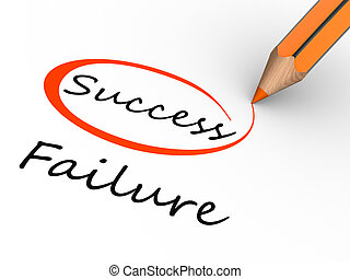 Choosing between success and failure. 3d render illustration