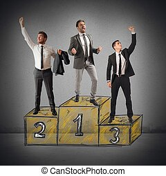 Success competition - Business people cheering for their big...