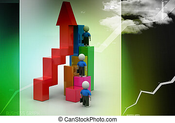 Success concept, 3d people climb on top of business growth graph