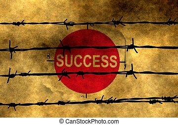 Success concept against barbwire