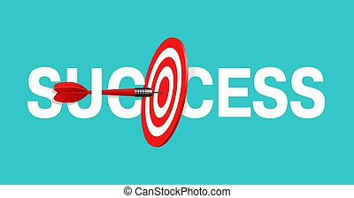 Success concept - sports, business strategy and targeting success - bulls eye hit in darts target - vector banner
