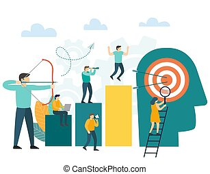 Success concept. Businessman archer aiming at a target, people run to their goal