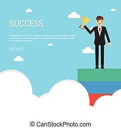 Success concept. businessman holding cup. leadership concept .man hold champion cup.