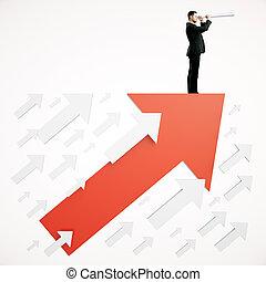 Success concept businessman on arrow - Success concept with...