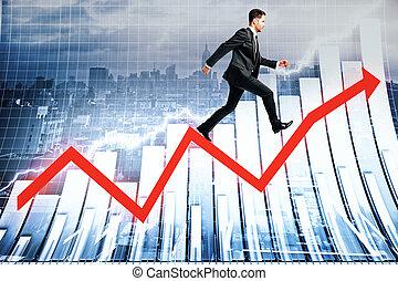 Success concept businessman on arrow