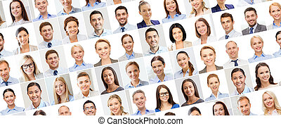 collage with many business people portraits