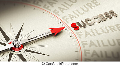 Success Concept - Compass pointing the word success made in...