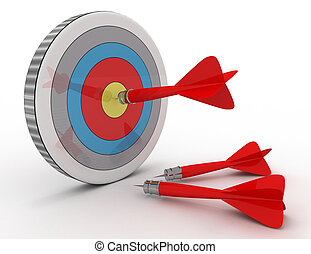 success concept . darts and target . 3d rendered illustration