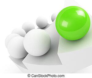 success., concept., direzione, verde, close-up., scale