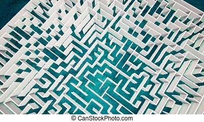 Success concept in white maze