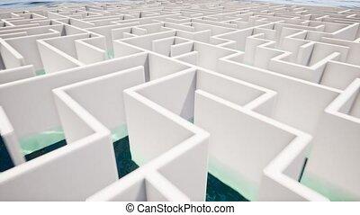 Success concept in white maze 4k