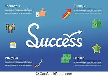 Success concept infographic with hand drawed lettering word and flat icons