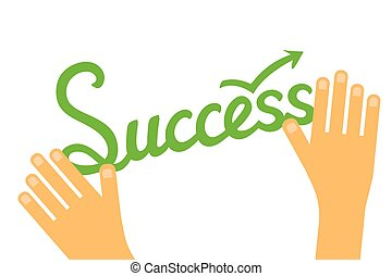Success concept infographic with hand drawed lettering word and hands