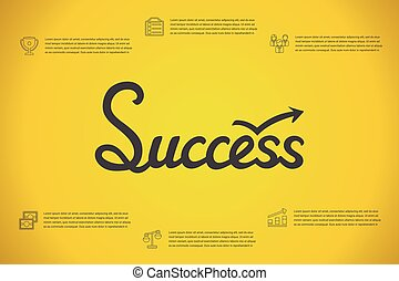 Success concept infographic with hand drawed lettering word and outline icons