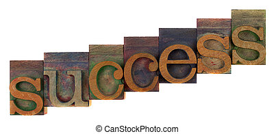 success concept - letterpress wooden type