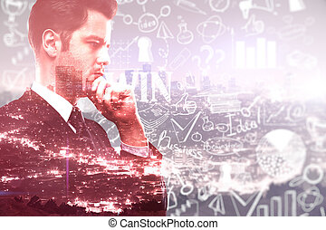 Success concept - Businessman with business sketch on red...