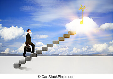 Success concept with businessman climbing ladder to abstract...