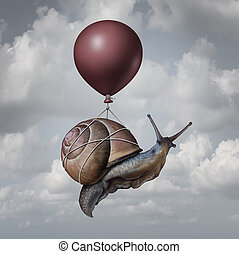 Success concept and business advantage idea or game changer symbol as a balloon lifting up a slow generic snail as a new strategy and innovation metaphor for creative, thinking.