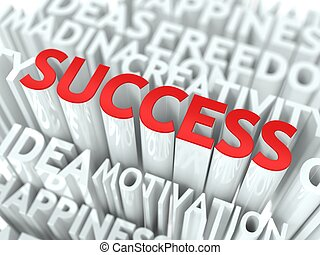 Success Concept. The Word of Red Color Located over Text of...