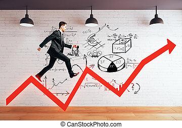 Success concept with man on arrow