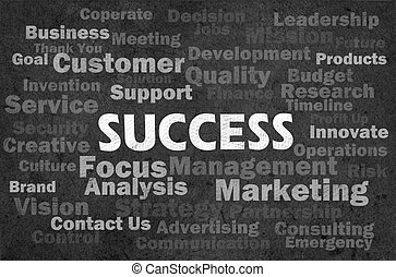 Success concept with other related words on retro background