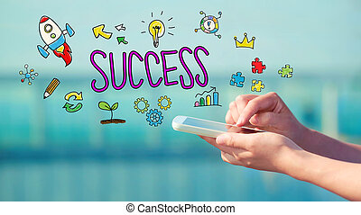 Success concept with smartphone