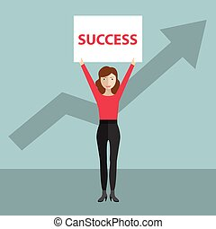 Success concept, woman holding banner over her head with success written on it