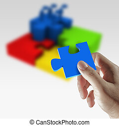 Success concept,puzzles in hand