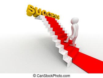 success concept 3d man wlakin on ladder