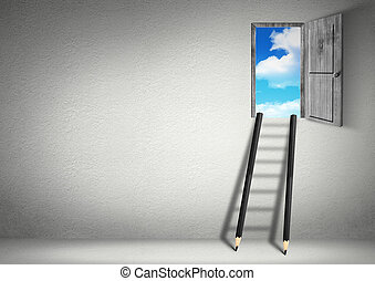 success creative concept, stairs from pencils to sky