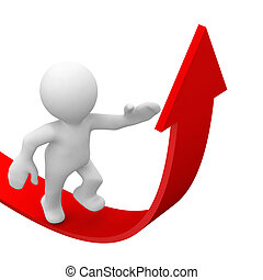 Success - 3d human climb in a red arrow for success