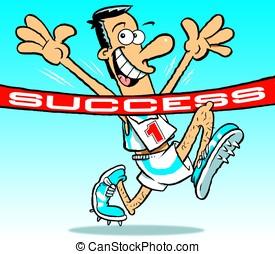 Success - Cartoon of athlete, arms raised, breasting tape...