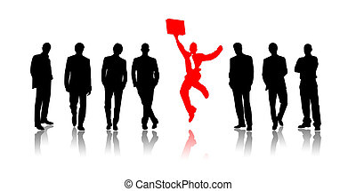 Success - Illustration of group of people against one...