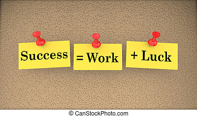 Success Equals Work Plus Luck Bulletin Board Saying 3d Illustration