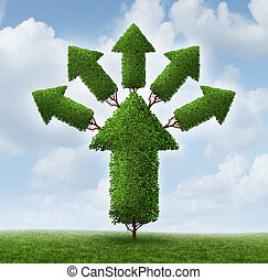 Success expansion business concept as a tree shaped as an upward arrow with plant stems branching out and growing smaller arrows as a metaphor for increased profits potential and healthy future.