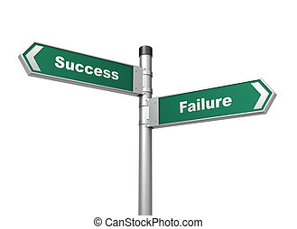 success failure road sign 3d illustration