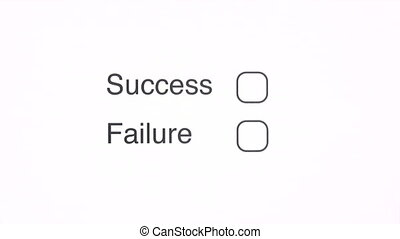 Success - Hand with pen marking the SUCCESS checkbox on a...
