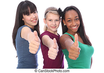 Success for ethnic mix three student girl friends - Thumbs ...