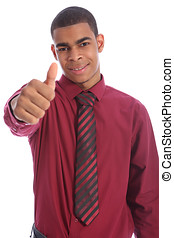 Success for happy young African American man