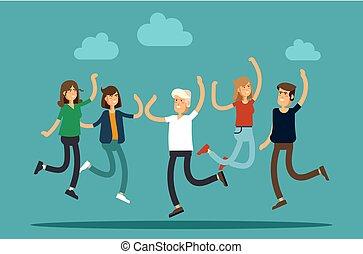 success., gens, blanc, jeune, heureux, vecteur, groupe, concept, amitié, illustration, arrière-plan., émotions, sauter