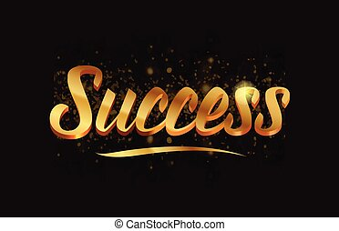 success gold word text with sparkle